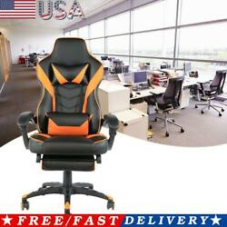 C type Foldable Nylon Foot Racing Chair with Footrest Black Orange Color $141.71