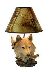 Zeckos Gray Wolf Bust Table Lamp W Nature Print Shade $79.99