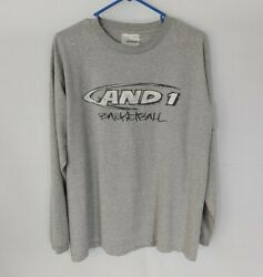 Vintage AND1 Basket Ball Long Sleeve Shirt Size Lg Spell Out Graphic Shirt EUC $13.50