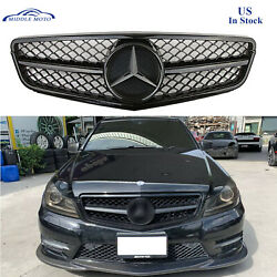 Gloss Black AMG Style Front Grille Grill Star For Benz W204 C250 C350 08 13 $89.89