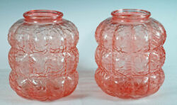 PAIR PINK DECO GLASS GLOBES SHADES VASES $40.00