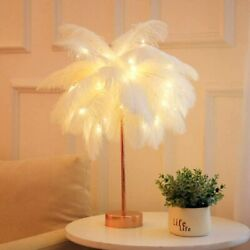 White Feather Shade Table Lamp Lampshade With Remote Bedside Desk Night Light US $29.98