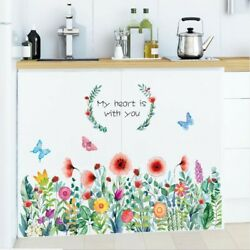 DIY Living Room Home Tropical Leaves Butterfly Flower Plants Decal Wall Sticker $10.65