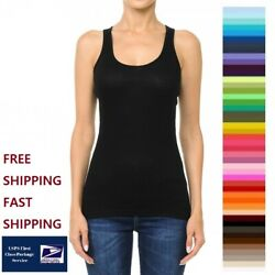 Women#x27;s Basic Solid Ribbed Scoop Neck Racerback Tank Top S M L Free amp; Fast Ship $7.99