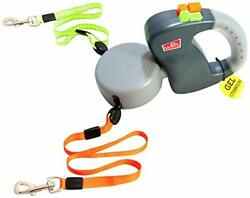 Two Dog Retractable Non Tangling Dog Leash with Innovative Gel Handle Gray $89.44