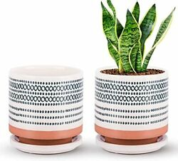 Small 5 Inch Ceramic Plant Pot with Porcelain Tray Drainage Hole Pack of 2 $39.99