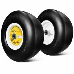 2 New 13x5.00 6 Flat Free Commercial Lawn Mower Smooth Tire with Steel Rim $173.00