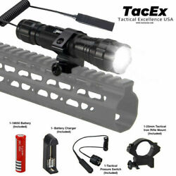 Tactical Flashlight 5 Mode T6 LED 20mm Rifle Mount Torch Light Pressure Switch $16.99