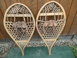 VINTAGE Snowshoes 32quot; Long x 16quot; Wide Has Leather Bindings GREAT For DECORATION $49.64