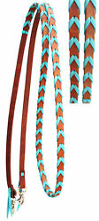 Horse Western Amish Leather Turquoise Laced Barrel Contest Reins 6686 $35.99