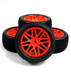 66045 055 1 10 Off Road Front Rear Buggy RC Wheels Grass Tyres 16 Spoke Red x 4 $22.66