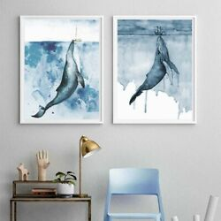 Watercolor Whale Animal Wall Art Canvas Oil Painting Pictures Print Decor $6.99