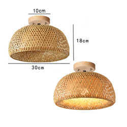 Natural Bamboo Ceiling Chandelier Home Lights Creative Lighting Hand Knitted