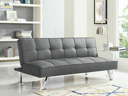 Sleeper Sofa Bed Grey Gray Convertible Couch Modern Living Room Futon Loveseat $210.00