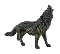 Zeckos Cool Steampunk Style Howling Gray Wolf Statue $43.99