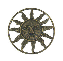 Antique Bronze Finished Cast Iron Celestial Sun Face Wall Hanging 12 Inches In $29.98