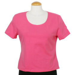 WEEKENDERS Hot Pink Stretch Cotton Blend KNit Top M 185 NEW $9.99