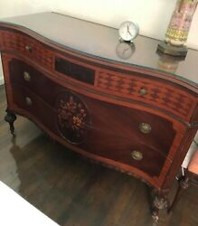 7 piece Vintage bedroom set Cherry and mahogany wood with inlay and carving $1200.00