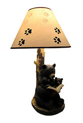 Zeckos Black Bear Reading to Curious Cubs Table Lamp w Paw Print Shade $79.99