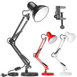 Metal Desk Lamp Adjustable Gooseneck Heavy Base Architect Table Lamps with Clamp $21.99