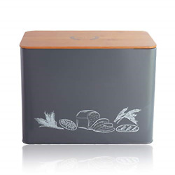 Living Home Bread Box Extra Large Metal Bread Bin with Bamboo Lid Kitchen Bins 2 $84.18