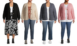 Terra amp; Sky Women#x27;s Plus Size Stitched Button Front Cardigan $15.69