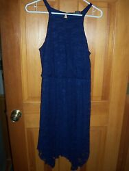 Women#x27;s Navy Just One Lace Dress Hi Low Size Large $6.49