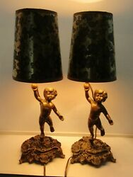 Pair of 2 Vintage Small Brass Putti Accent Lamps with shades 12quot; Tall $125.00