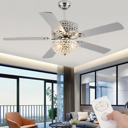 52quot; Retro Crystal Shade Ceiling Fan Lamp 5 Blades Chandelier Lighting w Remote $186.29