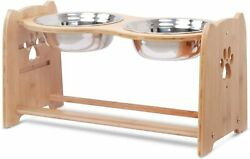 X ZONE PET Raised Pet Bowls for Cats and Dogs Adjustable Bamboo Elevated Dog... $46.00