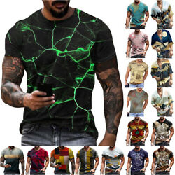Men#x27;s Summer Crew V Neck Short Sleeve Tee Tops Printed Casual Loose T Shirts $18.33