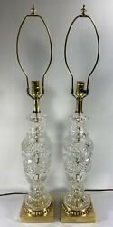 Vintage Pair Lamps Cut Crystal Table Lamps Solid Brass Bases Gorgeous Quality $195.00