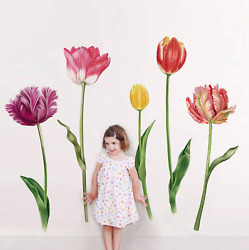 Large Tulip Flowers Wall Decals Floral Wall Art Stickers Background Home Decor $20.38