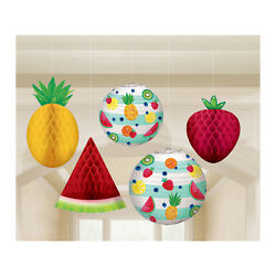 5 x Hawaiian Hanging Honeycomb Fruit and Lanterns Paper Party Decorations $14.55