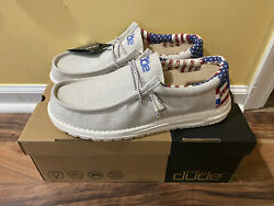 Hey Dude Shoes Men's Wally Patriotic American Flag Off White Red Blue 11 12 13 $129.99