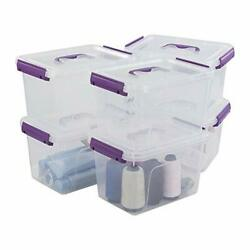 Utiao Clear Plastic Bin with Lid 6 Quart Latching Box with Purple Handle 6 Packs $31.24