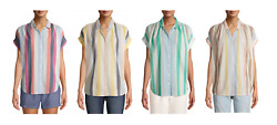 Time and Tru Women#x27;s 100% Cotton Button Front Shirt with Rolled Sleeves $10.69