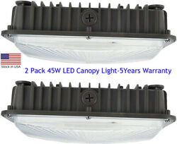 2 Pack 45W LED Canopy Light Outdoor Commercial Lights Fixture 5 Years Warranty