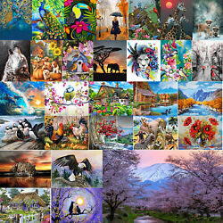 Home Wall Painting By Numbers Kit DIY Hand Painted Canvas Oil Art Picture Craft $14.72