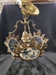 Unusual Antique Hanging Lamp Brass and Etched Glass a1 $145.00