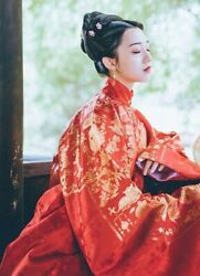 Ancient Asian Traditional Red Chinese Wedding Hanfu Winter Costume with Collar $65.30