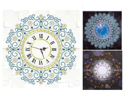 5D Embroidery Wall Clock 50x50cm CanvasResin Diamond Painting Home Watch Decors $32.29