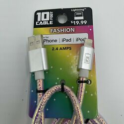 10 Foot iPhone iPad iPod USB Lightning Charging Cable 2.4 amps Fashion Pink $8.99