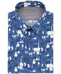 Calvin Klein Mens Dress Shirt Blue Size Large L Abstract Extra Slim Fit $79 102 $15.99