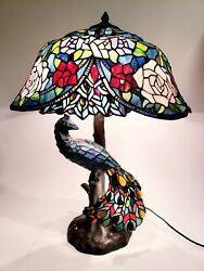 Beautiful Tiffany Style Peacock 3 Way Lamp Stained Reproduction 28quot; $674.95