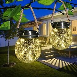 Solar Lanterns Lights Outdoor Waterproof2 Pack Large Crackle Glass Ball Hanging $39.42