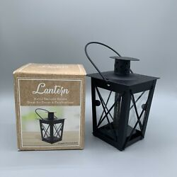 Small Metal Tealight Holder Candle Lantern Black With Glass Handle $8.00