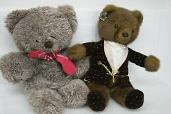 VINTAGE BEAR PLUSH STUFFED ANIMAL BEARS SET OF 2 17 1 2quot; amp; 18quot;quot; TALL APPLAUSE $34.99
