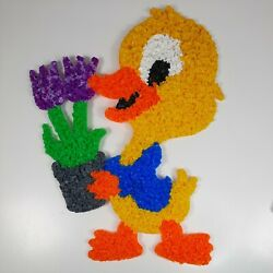 Vintage Melted Popcorn Yellow Chick Easter Decoration Cute with Flowers $14.99