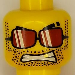 Lego Minifigure Head Yellow With Red Sunglasses And Stubble Dual Sided $1.89